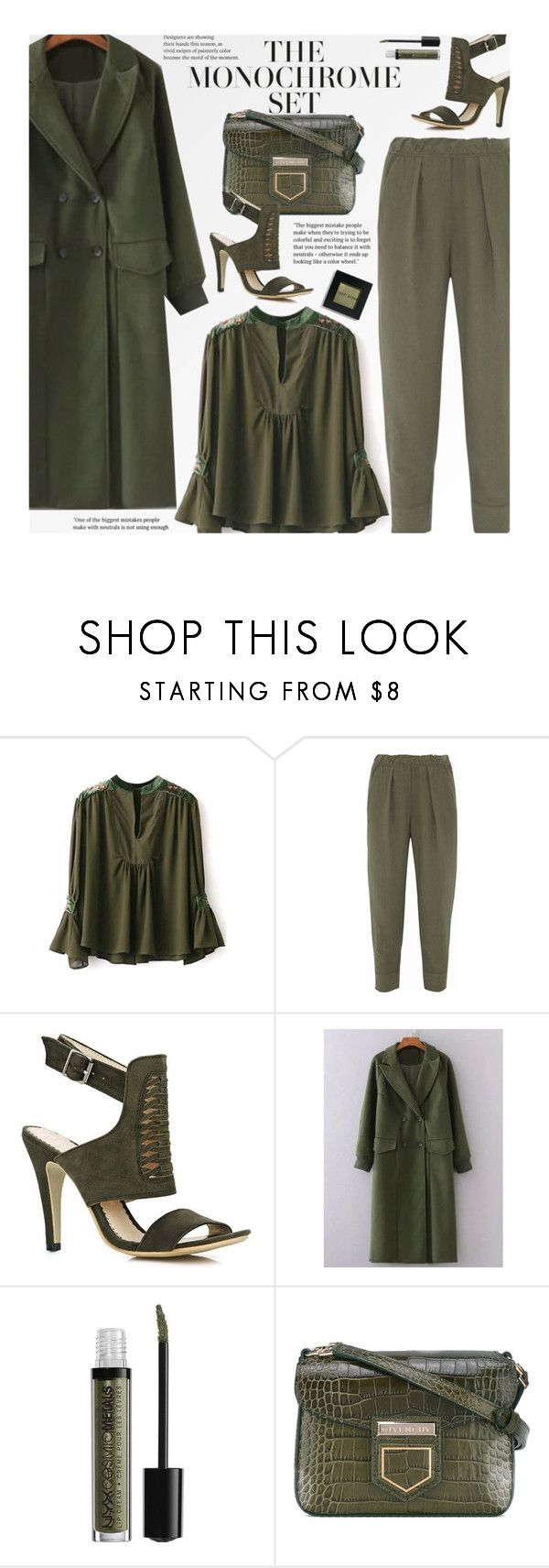 """One Color, Head to Toe"" by beebeely-look ❤ liked on Polyvore featuring Raquel Allegra, NYX, Givenchy, Bobbi Brown Cosmetics, WorkWear, monochrome, ruffles, StreetChic and twinkledeals"