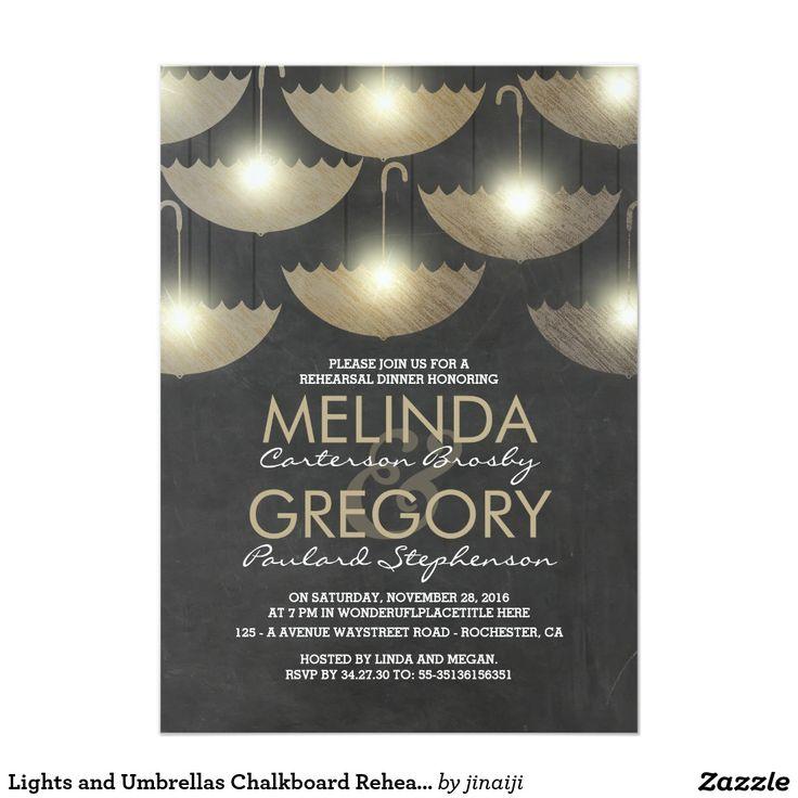 creative wording for rehearsal dinner invitations%0A Lights and Umbrellas Chalkboard Rehearsal Dinner