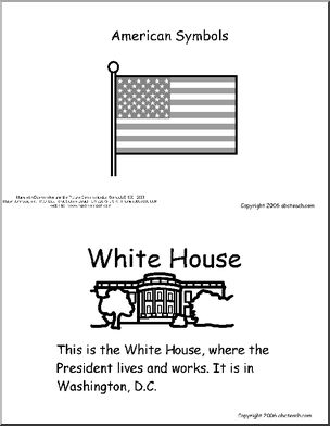 American Symbol booklet to read and color, for primary ages.