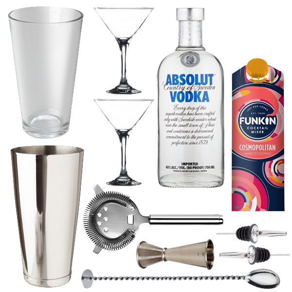 <strong>Cosmopolitan Lovers Gift Set</strong>-The true star of Sex andThe City this is the perfect Cosmopolitan cocktail set for any Cosmo fan.    <strong>Cosmopolitan Lovers Gift Set</strong> - <strong>Gift Set Contents</strong>  1 x Boston Cocktail Shaker Can 28oz  1 x Boston Cocktail Shaker Glass 16oz  2x Stainless Steel Freeflow Pourer  1 xProfessional Jigger  1 x Cocktail Miking Spoon  1 x Hawthorne Strainer  2 x Martini Glasses  1 x Absolute Vodka 70cl  1 x Funkin Cosmopolitan Mix