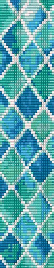 Loom Bracelet Beading Pattern Blue Diamonds by GoldenValleyCraft