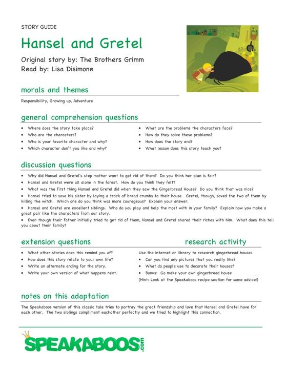 Lesson Plans Hansel And Gretel Speakaboos Worksheets