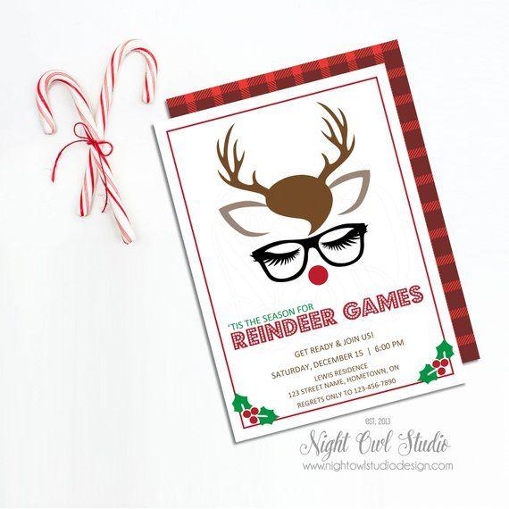 Christmas Party Invitation Reindeer Games Invite Reindeer Games