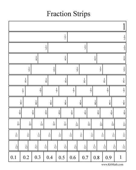 Free printable fraction bars in black and white and also color.