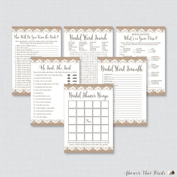 Printable Burlap and Lace Bridal Shower Games Package This printable bridal shower games package is perfect if youre wanting to have a