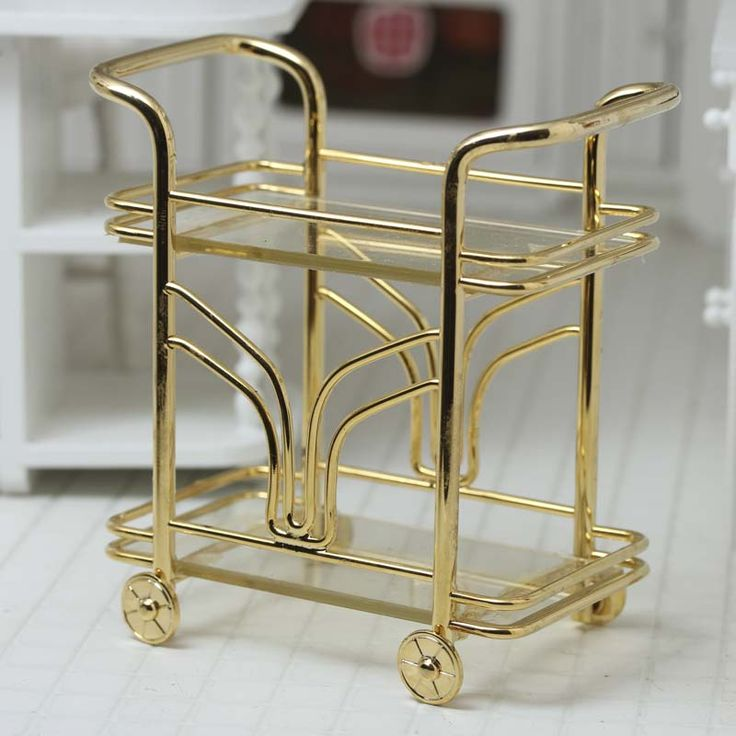 Dollhouse Miniature Food And Beverage Cart