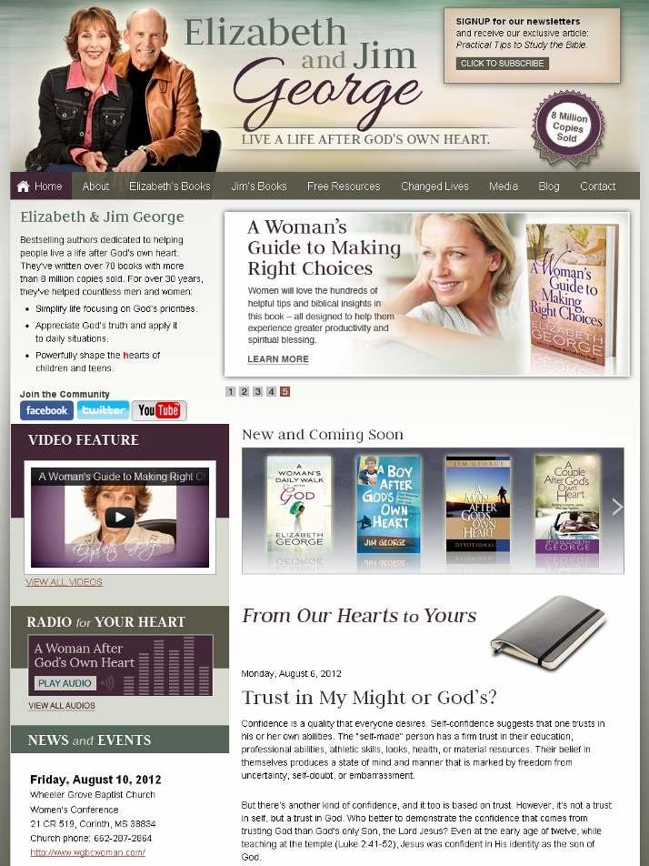 New website created for mega-bestselling authors, Elizabeth and Jim George http://www.ElizabethGeorge.com
