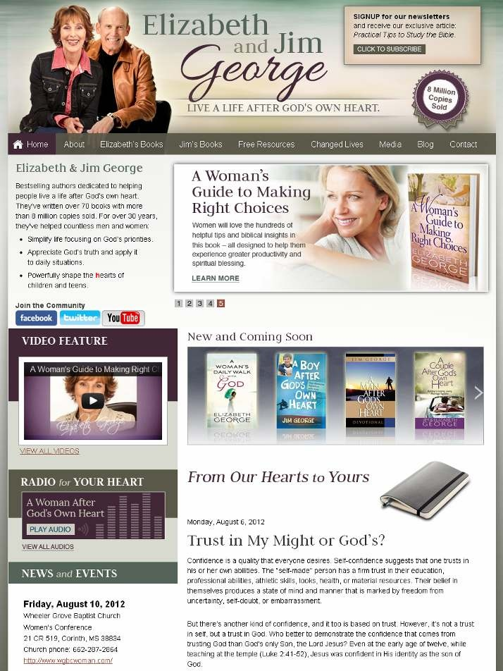 New website created for mega-bestselling authors, Elizabeth and Jim George http://www.ElizabethGeorge.comWildfire Website, Website Portfolio, Website Create