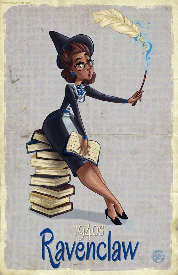 Retro Hogwarts Pinups from Different Decades