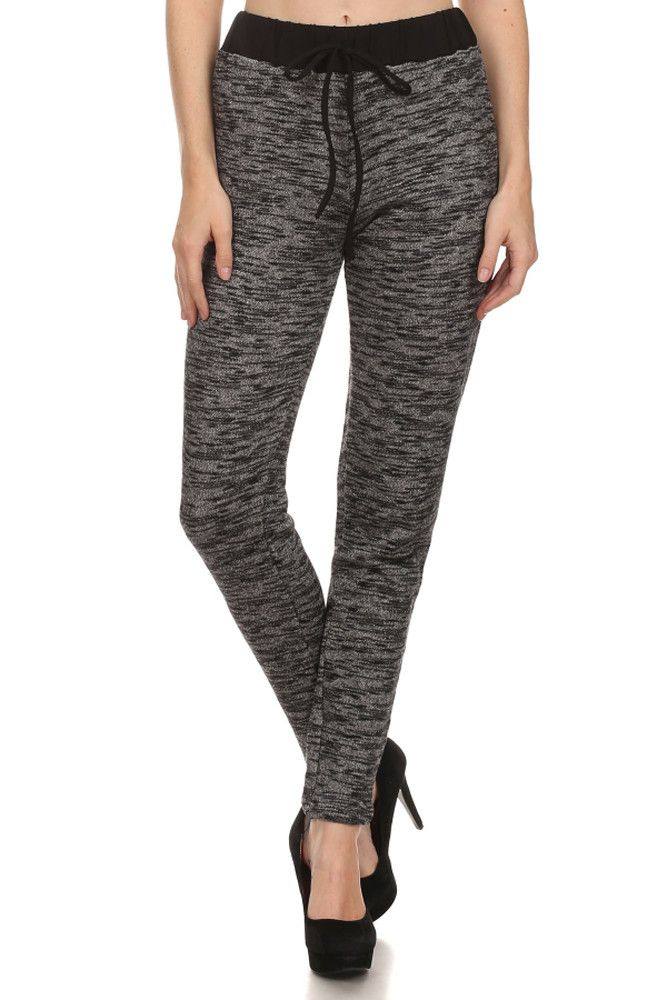 High Waist Full Length Terry Skinny Sweatpants Joggers Activewear