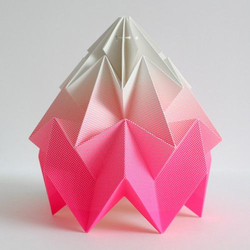 Handmade origami paper lamp with a fluor screenprint gradient.