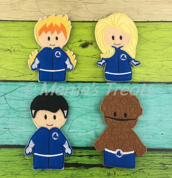 Set of 4 Finger Puppets  Inspired by Fantastic Four movie