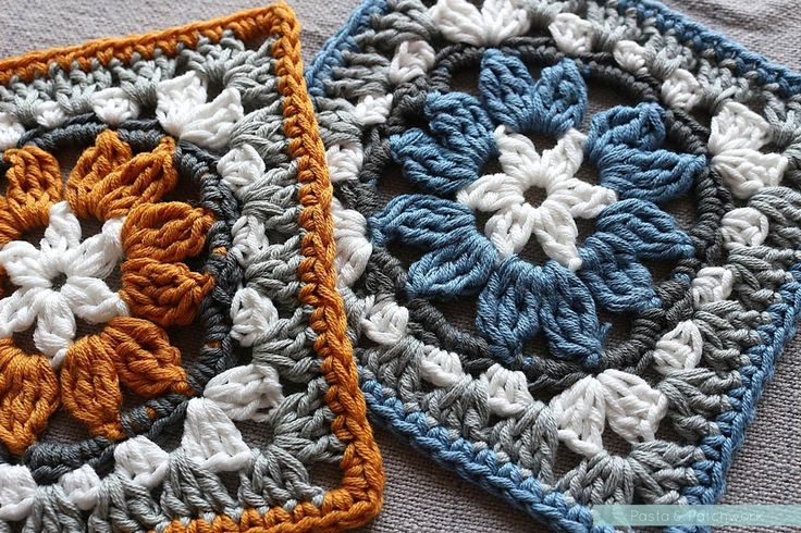 A granny square that looks like a cross between an anemone and a sunflower, achieved by making clusters of Treble Crochet. Free pattern that…
