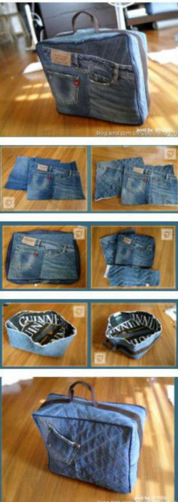 Petite valise.14 Magnifiques sacs DIY à réaliser avec des vieux jeans