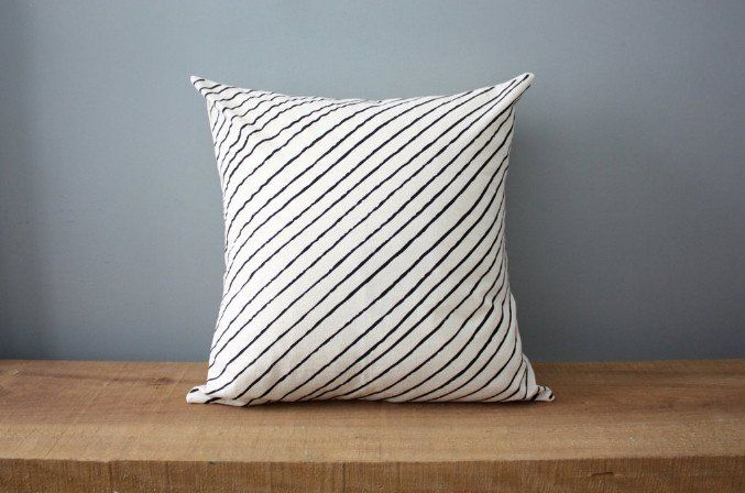 Diagonal Stripe Organic Cotton Pillow 12x12