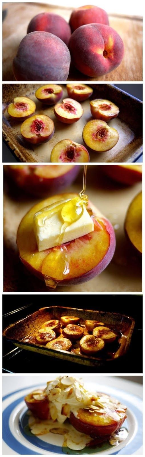 Honey Roast Peaches -- fresh peaches, buttery honey sauce topped with cool marscapone cream and toasted almonds