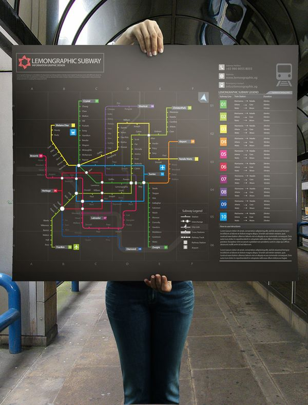 Neon subway map information design    Neon subway map information design is a simulation of using  names as subway stations. Hereby i had created 10 subway routes with  different colours to experiment the data visualization in creating a  subway sitemap information design.