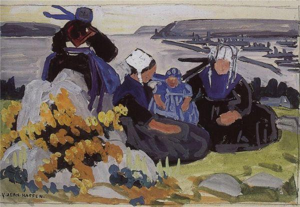 Yvonne Jean-Haffen était l'élève de Mathurin Méheut . Pas étonnant qu'à l'image du maître elle se soit aussi inspirée de la richesse des habits de la presqu'île .  Sur sur ce tableau qui date de 1930 , Yvonne  a placé ses personnages sur des hauteurs parsemées d'ajoncs fleuris , tandis que dans le lointain ,on reconnaît la grisaille des bateaux militaires .