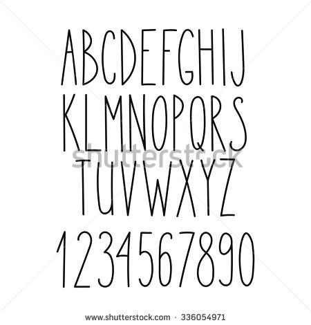 Doodle Alphabet Vector Simple Hand Drawn Letters Thin San Serif
