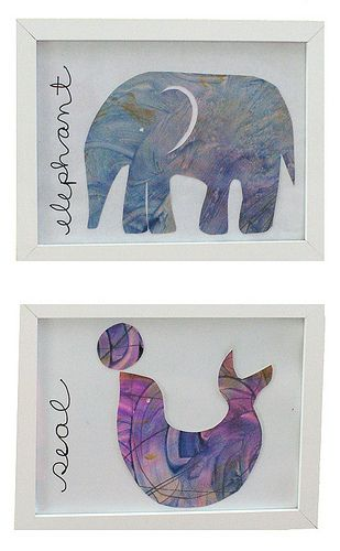 Use your child's artwork to create a brand new piece. Cut pictures into different animals using these templates from Sarah Jane Studios and frame for a more permanent art piece. This project works great for all those coloring or finger painting pages done on plain white paper that don't have a real definite shape.