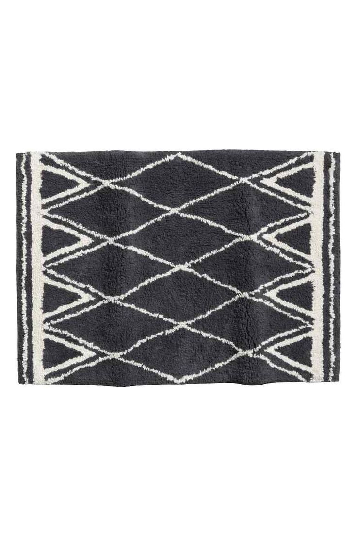 Jacquard-weave bath mat - Dark grey/Patterned - Home All | H&M 1
