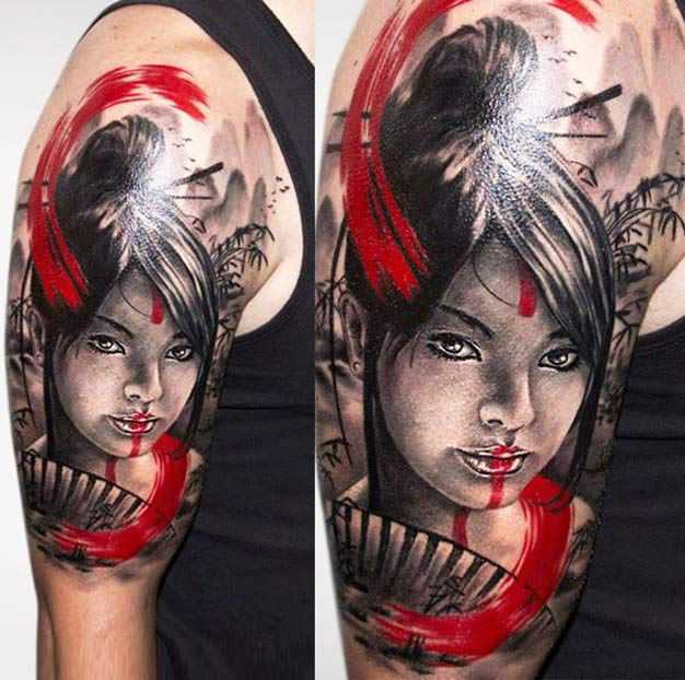 Realistic Geisha Tattoo by Charles Huurman  | Tattoo No. 12375