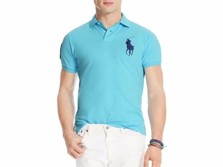 NWT Men POLO Sale by RALPH LAUREN Custom Fit Big Pony Mesh Solid Shirt S,M,L,XL #PoloRalphLauren #PoloRugby