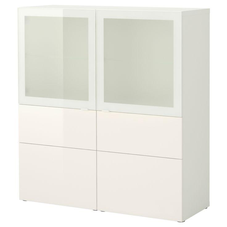 BESTÅ Combinazione + ante/cassetti - bianco/Tofta lucido/vetro smerigliato bianco - IKEA