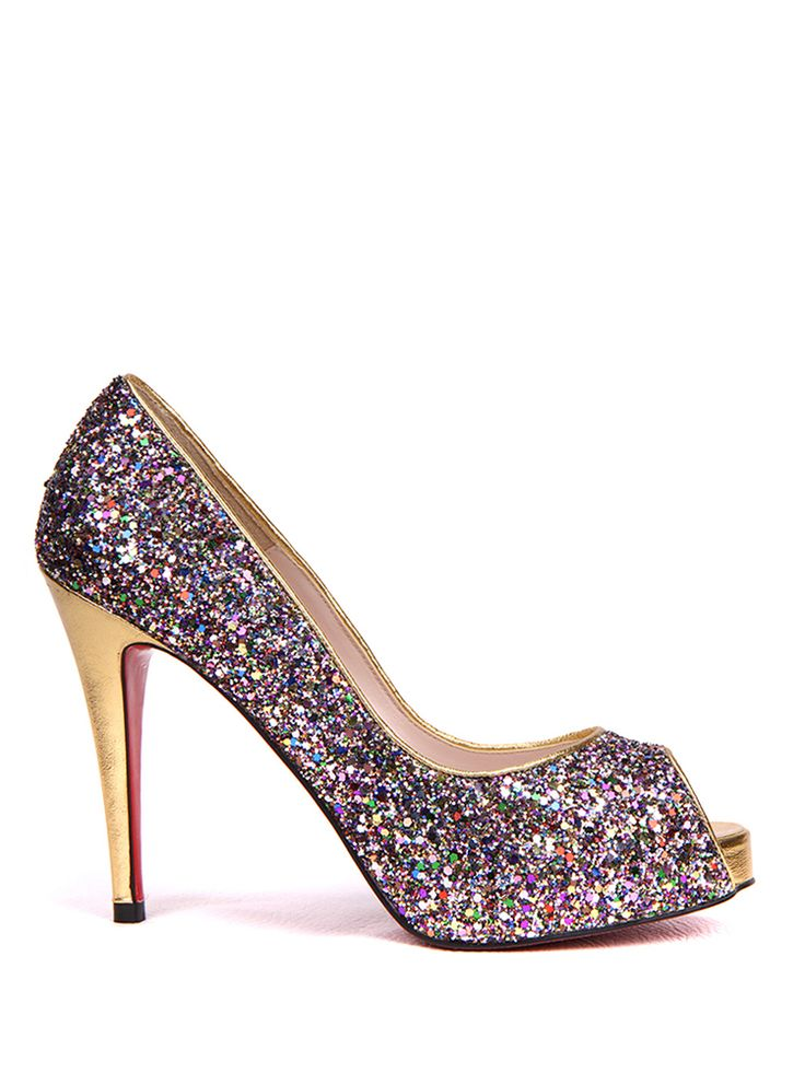 Diaz Glitter Gold Heel Pump