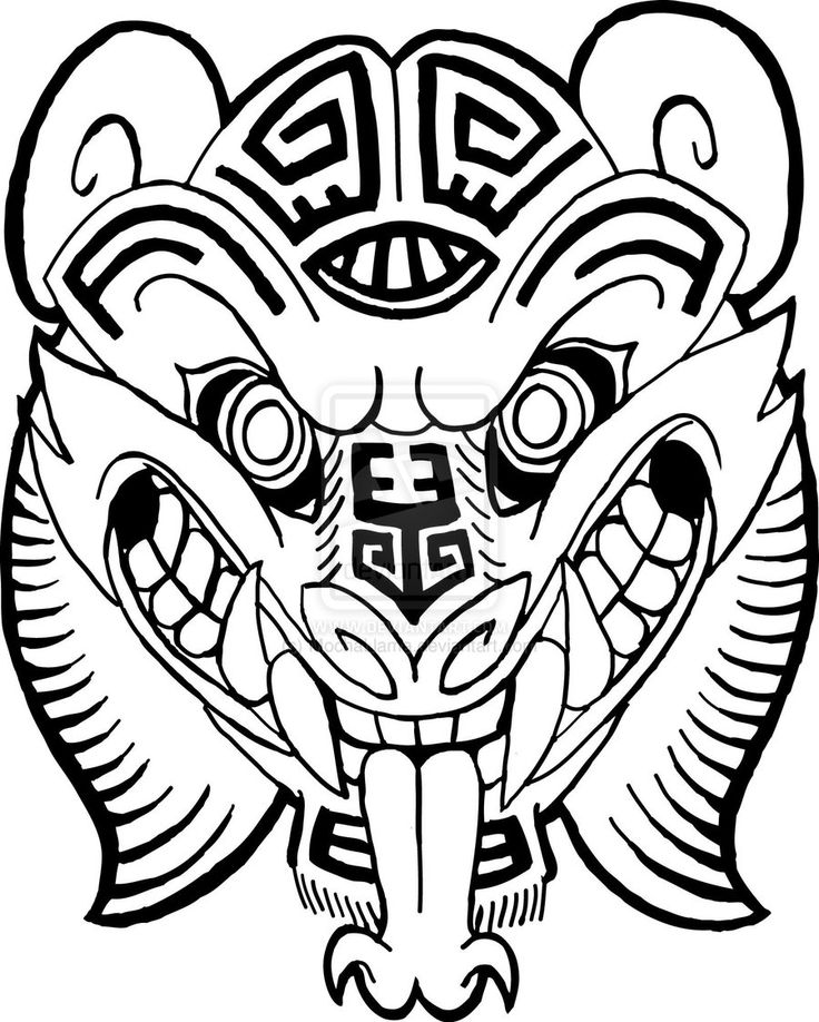 Mayan jaguar god by mochallama on deviantart mayan for Aztec mask template