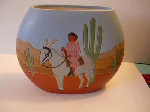 Vintage Southwestern Pottery Hand Painted Vase Mexican