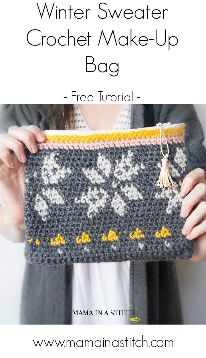 Pretty, free crochet zipper bag tutorial from Mama In A Stitch. This is made with tapestry crochet, which is a lot of fun, and not too difficult! #freepattern #crochet #tapestrycrochet
