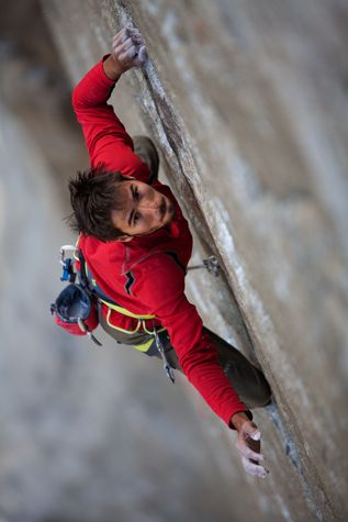 Kevin Jorgeson on the Dawn Wall Project, Yosemite  photo: Jimmy Chin