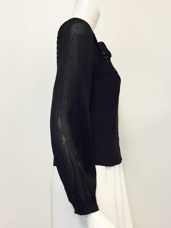 Chloe Black Silk Blouse With Bugle Beaded Bib and Tie  4