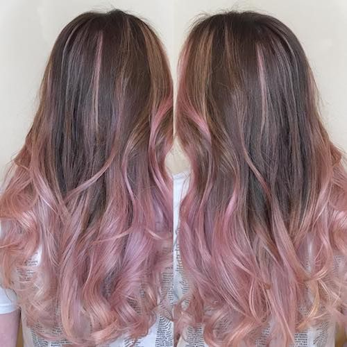 dusty pink hair color-highlights