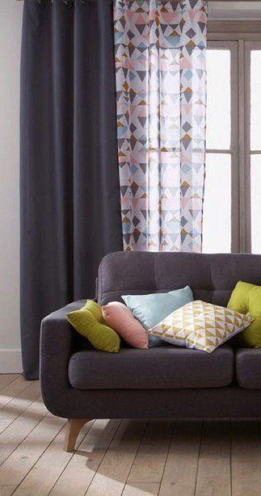 un salon avec rideaux et voilages pastel motifs gomtriques - Rideaux Salon