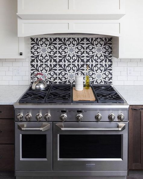 "2,110 Likes, 35 Comments - Cement Tile Shop (@cementtileshop) on Instagram: ""This kitchen backsplash with the in stock Charleston pattern looks amazing with the stainless range…"""