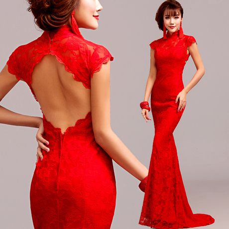 Cap sleeve mandarin collar red lace mermaid long bridal wedding dress trumpet Chinese style gown 001
