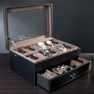 Treviso Leather Valet Box and Ten Watch Display Case (Engravable), from HomeWetBar.com