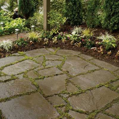 "he bluestone that makes up millions of American patios often comes in neatly sawn rectangles. But for a rustic landscape, nothing looks more natural than ""snapped"" or ""broken"" bluestone, terms used to describe an irregular edge on the slabs."