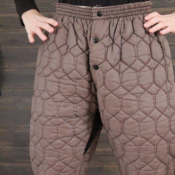 Pantalon sous-vêtement, pantalon matelassé,caleçon long, combines, pantalon chaud, pantalon brun, vinatge 70', homme moyen,