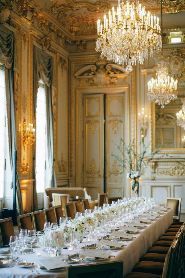 Ivory and gold reception    #wedding #weddings #weddingideas #aislesociety #realwedding #destinationwedding #paris