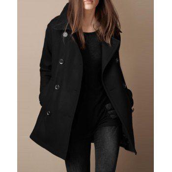 Chic Turn-Down Neck Long Sleeve Pocket Design Women's Peacoat (BLACK,XL) in Jackets & Coats | DressLily.com
