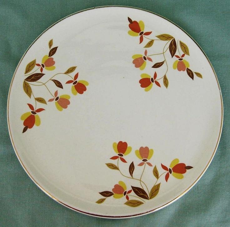 Jewel Tea Hall China Autumn Leaf Cake Plate