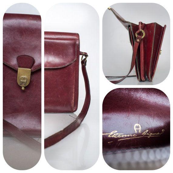 1970's Unisex brown leather shoulder bag // by VintageVanillaShop, zł75.00