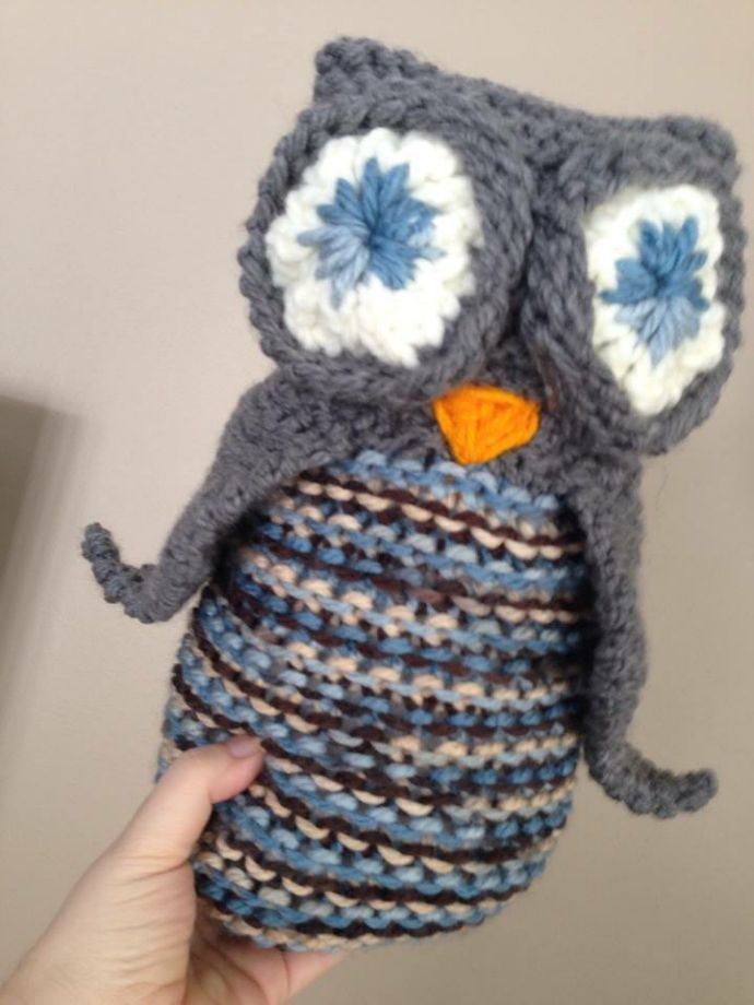 Loom knitted owl toy by Julie B.