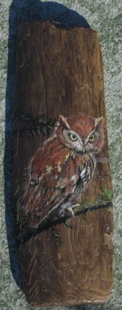 An owl painted on driftwood found on a Lake Huron beach in Michigan. It measures 7 1/2 inces wide and 20 1/2 inches tall. Hanger and signature on back. Please view all pictures.