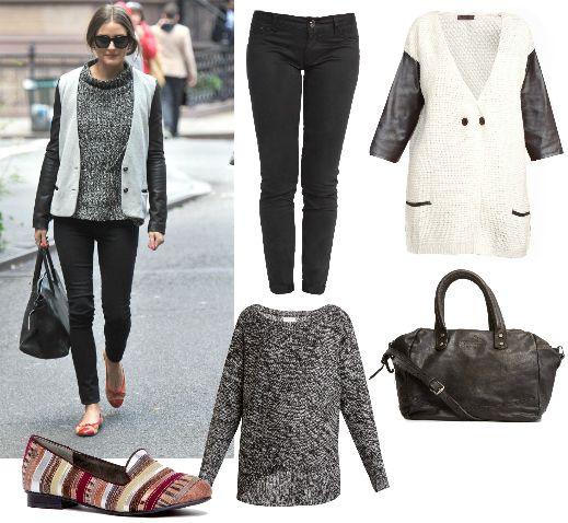 Copia el look de Olivia Palermo con pantalón pitillo @newcaro72, chaqueta de Muôtti, jersey jaspeado de Jacqueline de Yong, bolso Hakei y slippers @chika10footwear.