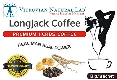 Vitruvian Natural Lab  Premium Herbs LongJack Coffee  Boost Sexual Libido  Increase Testosterone  8 Sachets Per Box  Tongkat Ali  Guarana  Maca -- You can get more details by clicking on the image.