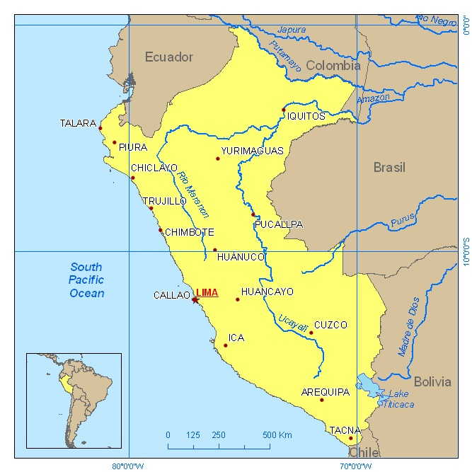 colimbia and equador border peru to the north, brazil borders it to the east, the pacicif borders it to the west and bolivia and chillie borders it to the south